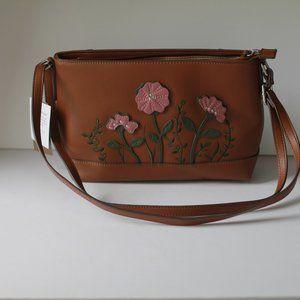 Giani Bernini Leather Floral Shoulder Bag